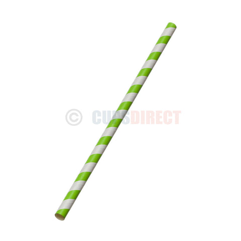 Paper Smoothie Straw - Green and White
