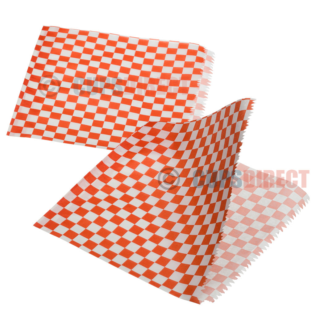 Greaseproof Bag Open Sides - Red Gingham