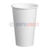 16oz Single Wall, White Paper Cups for Hot Drinks and Coffee