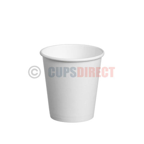 6oz Single Wall, Flat White Cup. White Paper Cups for Hot Drinks and Coffee