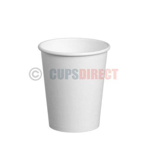 8oz Single Wall, White Paper Cups for Hot Drinks and Coffee