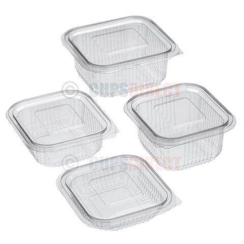Square Hinged PET Salad Container Range