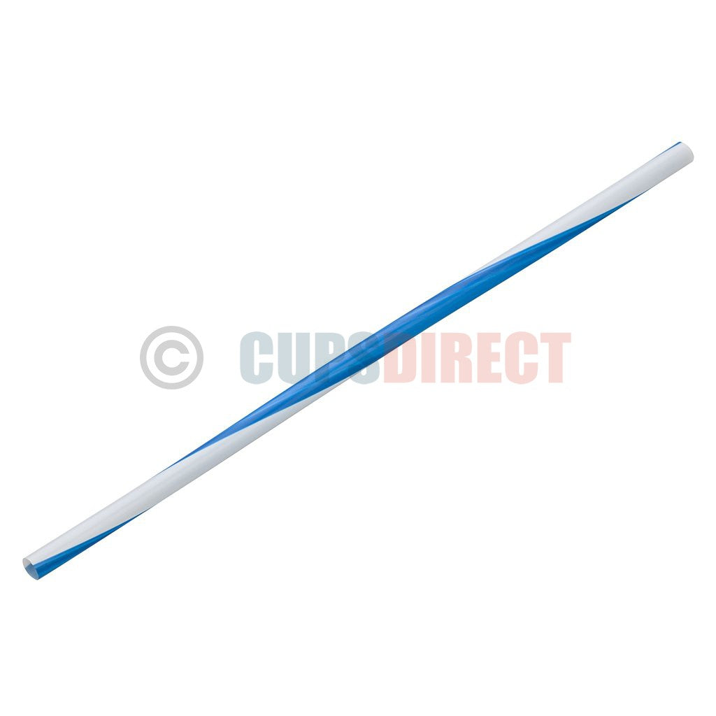 Blue Stripe Plastic Drinking Straws