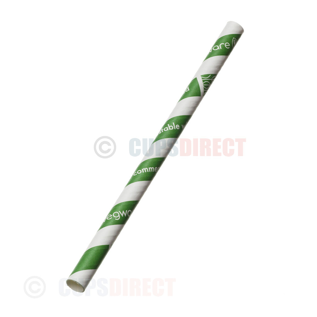 Vegware Super Jumbo 10mm Striped - Paper - Straw