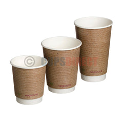 Vegware Double Wall Brown Hot Paper Cup Range Pla