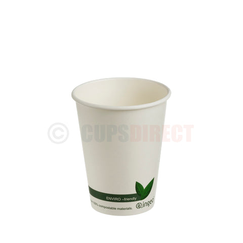 "Compostable PLA ""Single Wall"" Paper Coffee Cup 12oz"