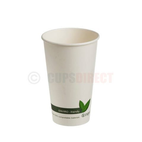 "Compostable PLA ""Single Wall"" Paper Coffee Cup 16oz"