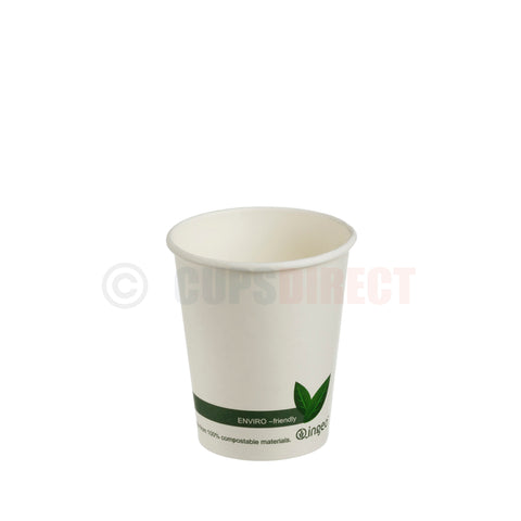 "Compostable PLA ""Single Wall"" Paper Coffee Cup 8oz"