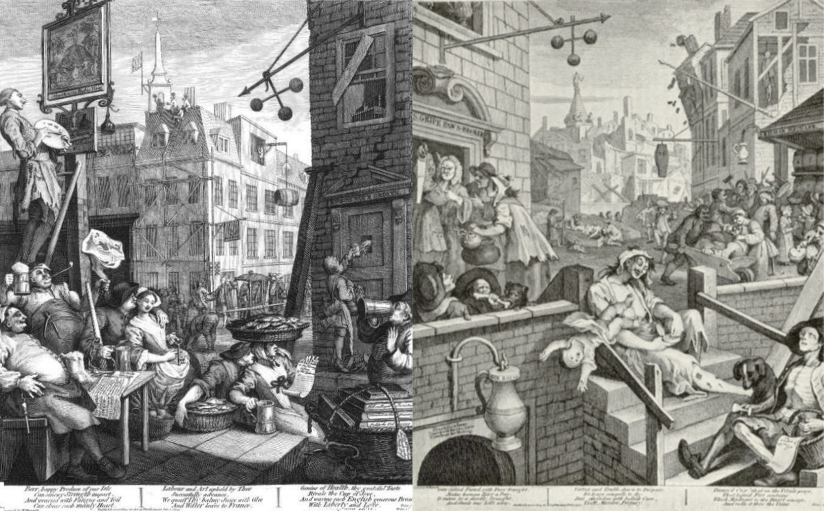 Hogarth's Famous Gin Lane was one of a pair, the other was Beer Street.
