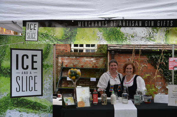 Alex and Jo behind the gin bar at the Lichfield Georgian Festival