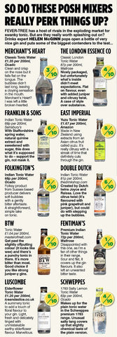 Article from the Daily Mail comparing 10 tonic waters with reference to Ice and a Slice