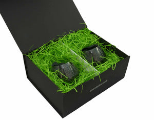Black magnetic gift box with 2 Ice and a Slice stemless glasses