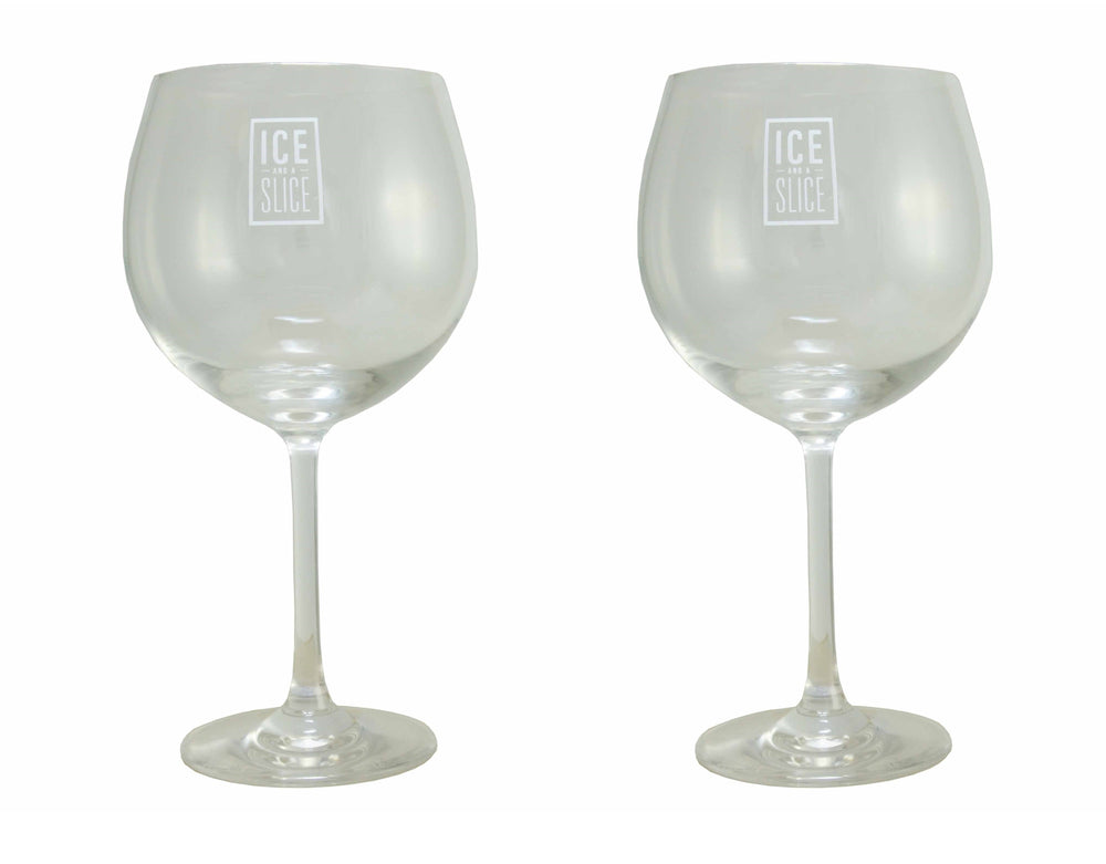 2x Ice and a Slice Branded Balloon Gin Glass