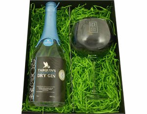 Black magnetic snap shut box containing 70cl bottle of Tarquin's Cornish Dry Gin and an 'Ice and a Slice' branded gin and tonic balloon glass