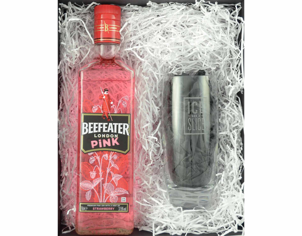 70cl bottle of Beefeater Pink Gin presented in a black magnetic gift box surrounded in white shred with an Ice and a Slice branded hiball glass