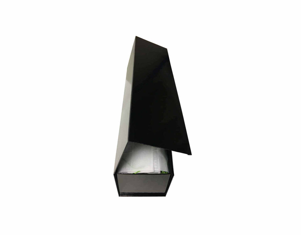 Black magnetic gift box with white branded Ice and a Slice tissue paper