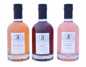 35cl bottles of Foxdenton Sloe, Plum and Rhubarb fruit gin