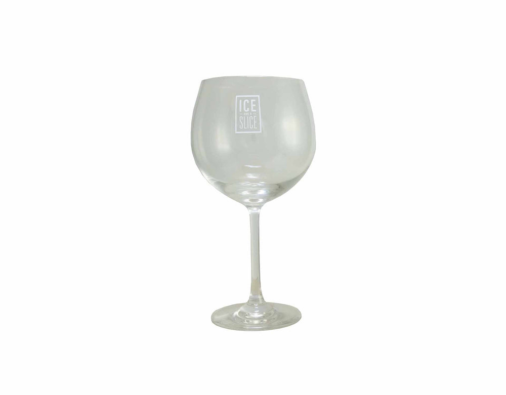 Ice and a Slice branded gin balloon glass