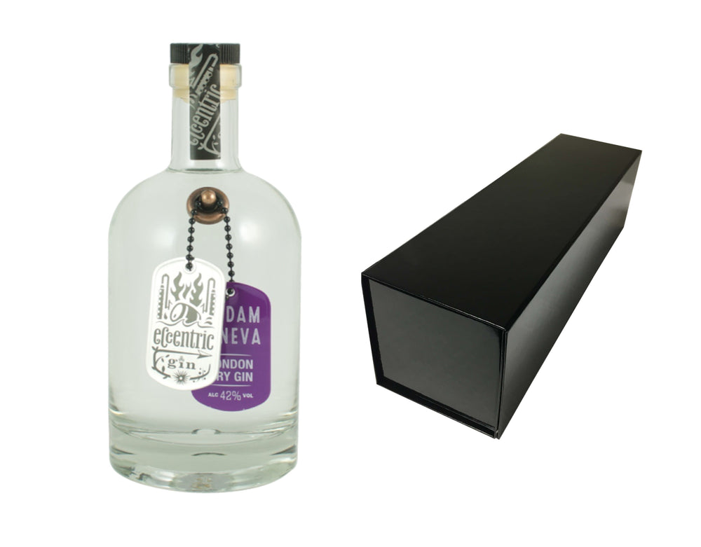 70cl bottle of Eccentric Madam Geneva Gin with a Black Magnetic Bottle Gift Box