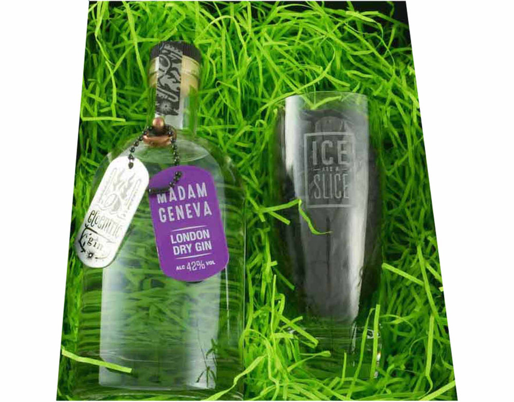 70cl bottle of Madam Geneva Gin with a Gin and Tonic Hiball Glass presented in a black gift box, surrounded by green shred