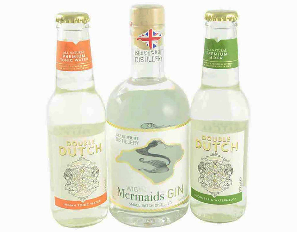 35cl bottle of the Isle of Wight Mermaid Gin with 200ml bottle of Double Dutch Indian Tonic Water and a 200ml bottle of Double Dutch Watermelon and Cucumber Tonic Water