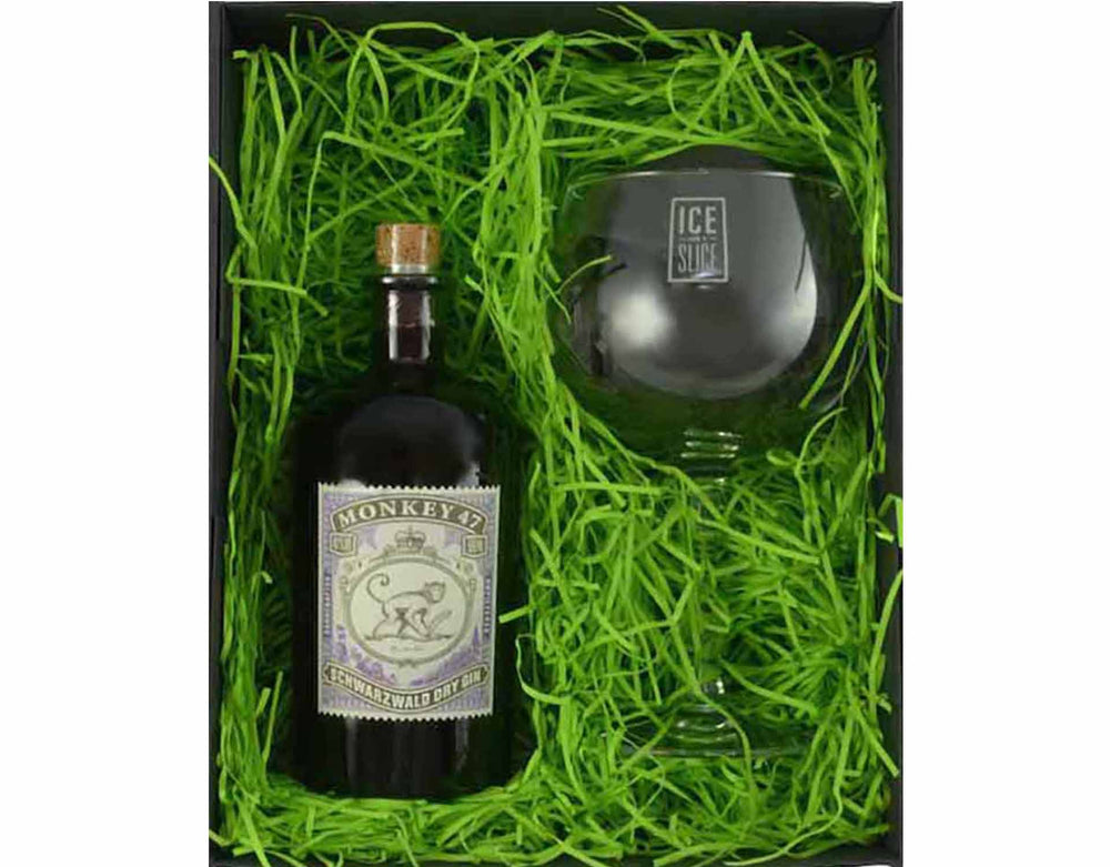 50cl Bottle of Monkey 47 in a gift box with a Gin Balloon Glass