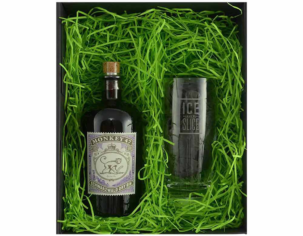 50cl Bottle of Monkey 47 in a gift box with a Gin Hiball Glass