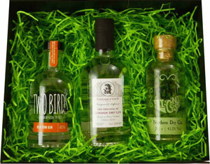 Original Triple Tipple Gift Set - three bottles of gin in a black gift box with green shred