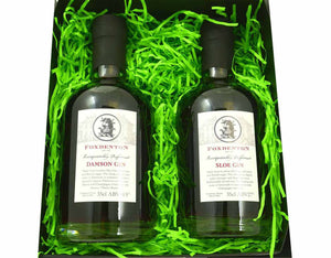 Our Favourite Fruit Gin Duo - 2 x 35cl Foxdenton Estate Sloe and Damson craft gin bottles in a black magnetic box