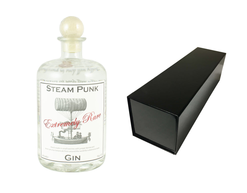 70cl bottle of SteamPunk Gin with a Black Magnetic Bottle Gift Box