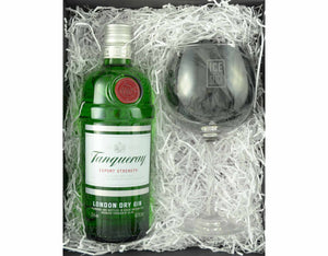 70cl bottle of Tanquerary London Dry Gin in a Black magnetic gift box with an Ice and a Slice branded balloon glass