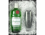 70cl bottle of Tanquerary London Dry Gin in a Black magnetic gift box with an Ice and a Slice branded hiball glass