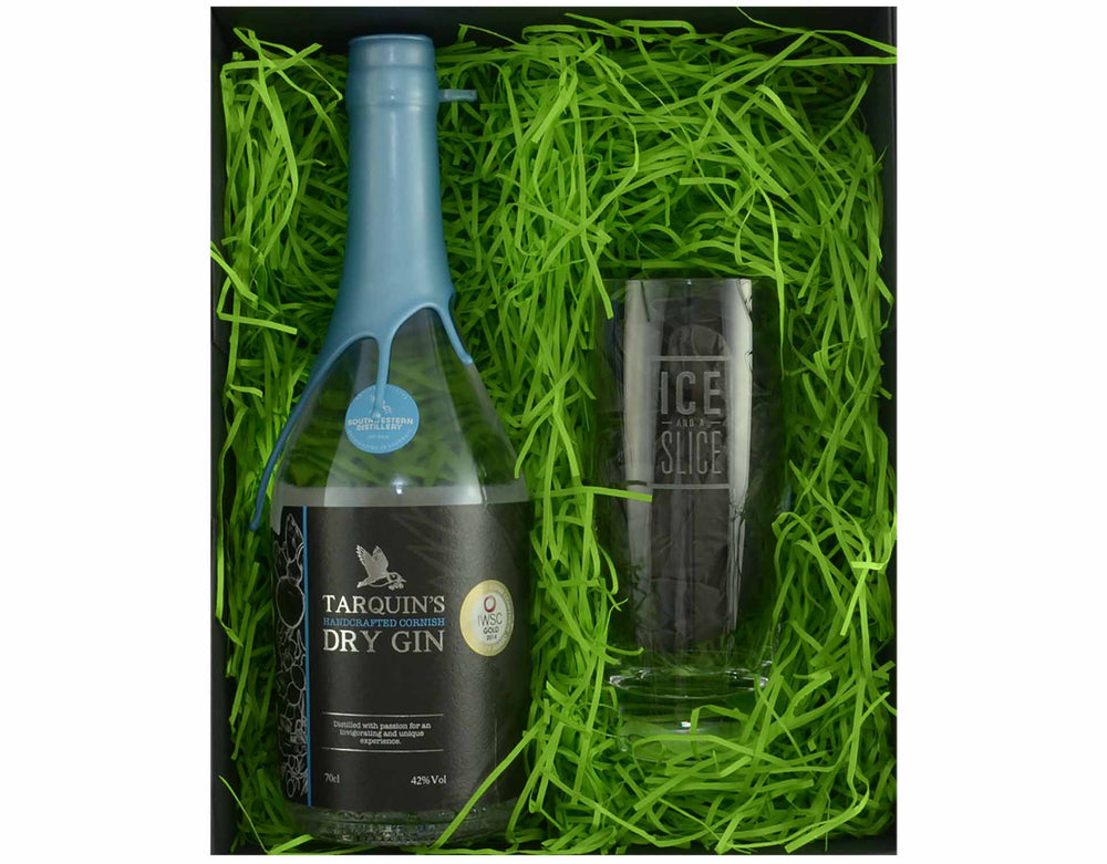 Black magnetic snap shut box containing 70cl bottle of Tarquin's Cornish Dry Gin and an 'Ice and a Slice' branded gin and tonic habit glass