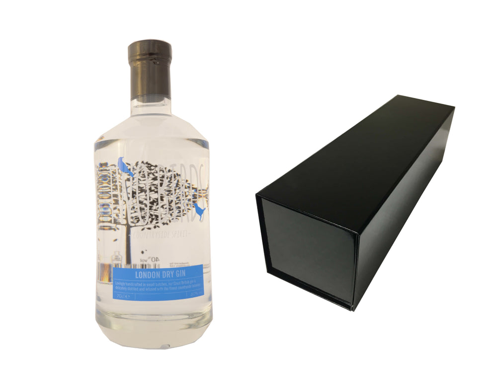 70cl bottle of Two Birds London Dry Gin with a Black Magnetic Bottle Gift Box
