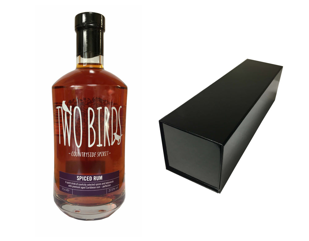 70cl Bottle of Two Birds Spiced Rum with a black bottle box