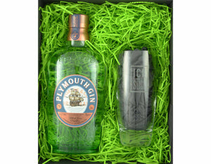70cl bottle of Plymouth Gin presented in a black magnetic gift box with zesty green shred and an Ice and a Slice branded balloon glass