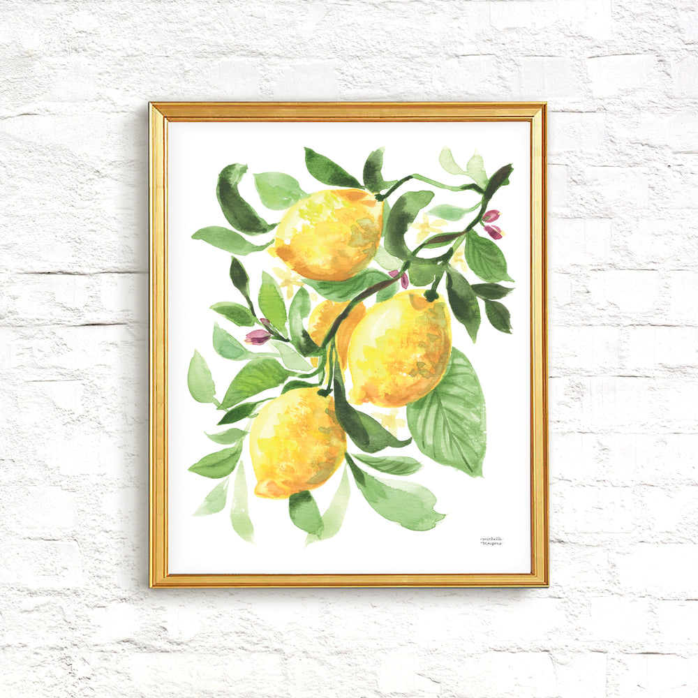 Watercolor Lemons fruit kitchen wall art print. Watercolor painting by artist Michelle Mospens.