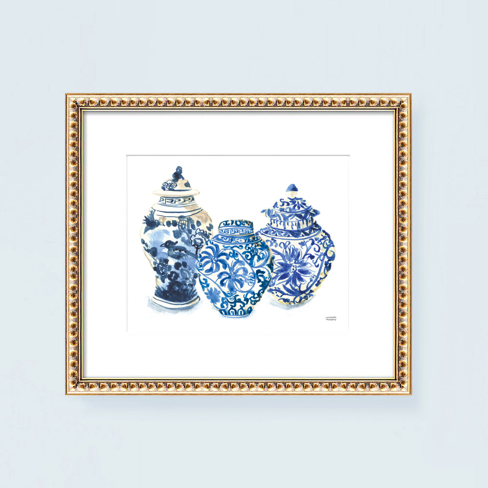 Load image into Gallery viewer, 3 Vintage Ginger Jars No. 1 Watercolor Art Print
