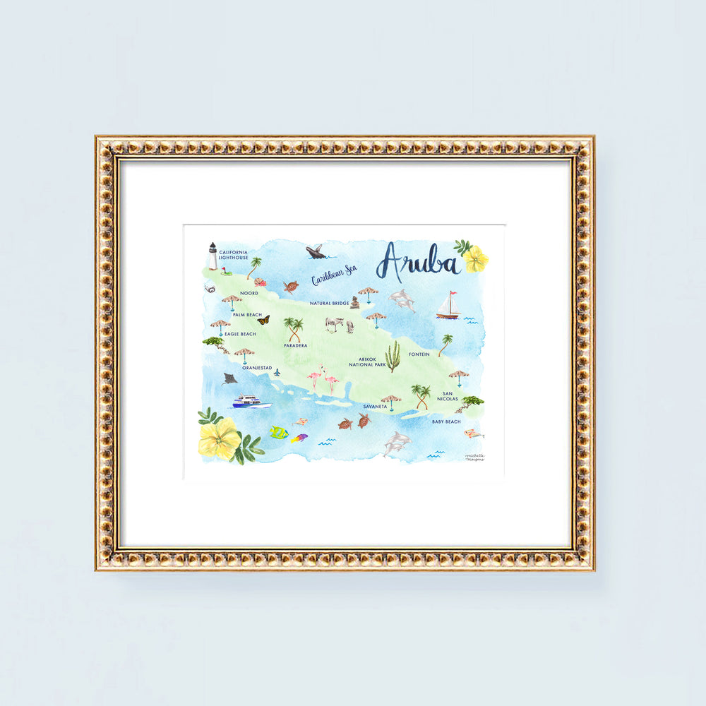 Aruba Island Map Art Print