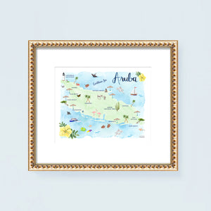 Aruba watercolor map art print by artist Michelle Mospens.