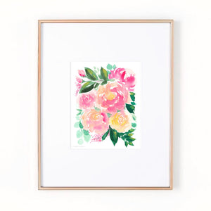 Hand-gathered Bouquet Watercolor Art Print