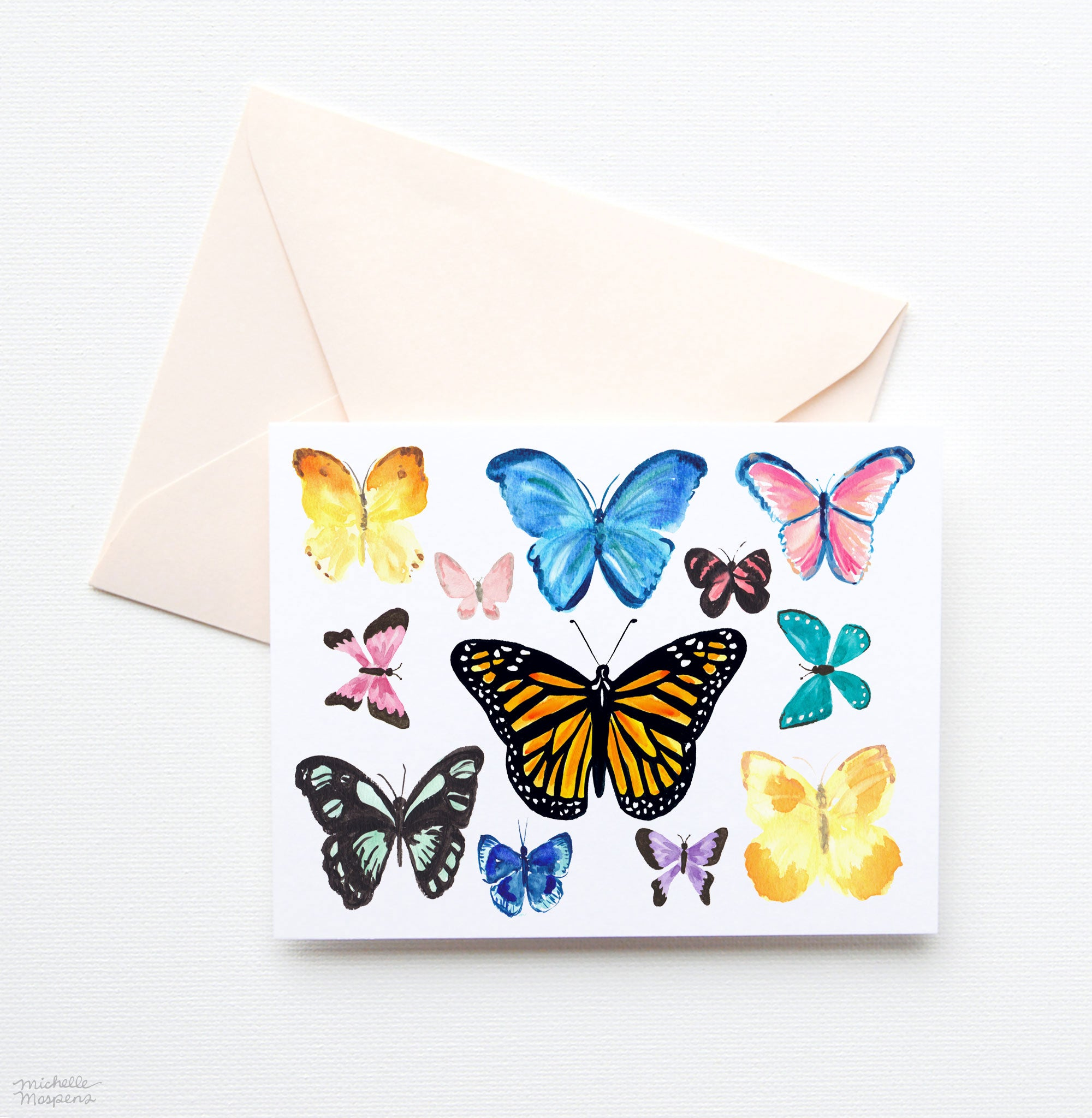 WATERCOLOR BUTTERFLY NOTE CARDS SET