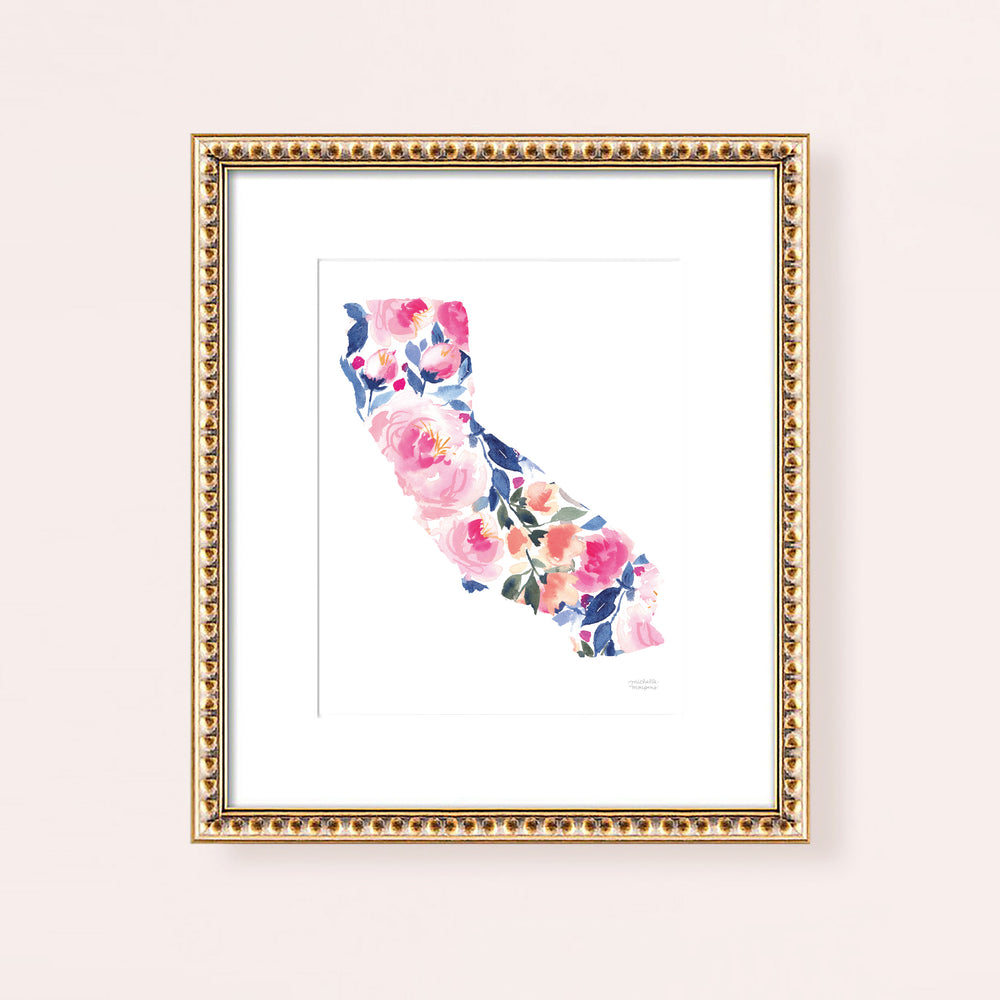 State Of California Watercolor Art Print