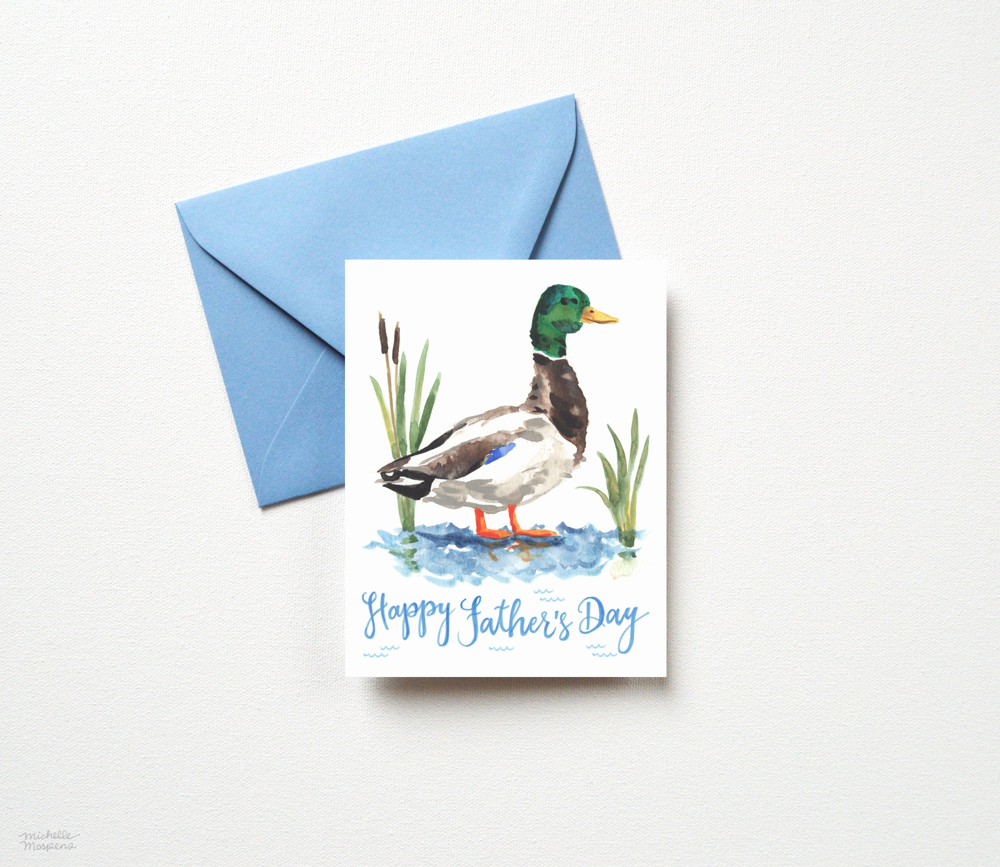 WATERCOLOR DUCK FATHER'S DAY CARD