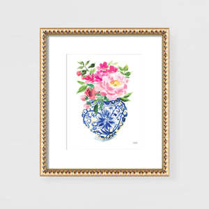 Watercolor Ginger Jar No. 5 with flowers painting wall art print by Michelle Mospens.