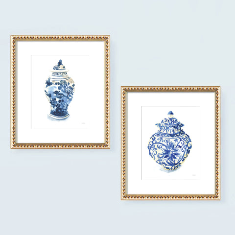 Blue and white chinoiserie ginger jars watercolor painting wall art print set of 2 by artist Michelle Mospens.