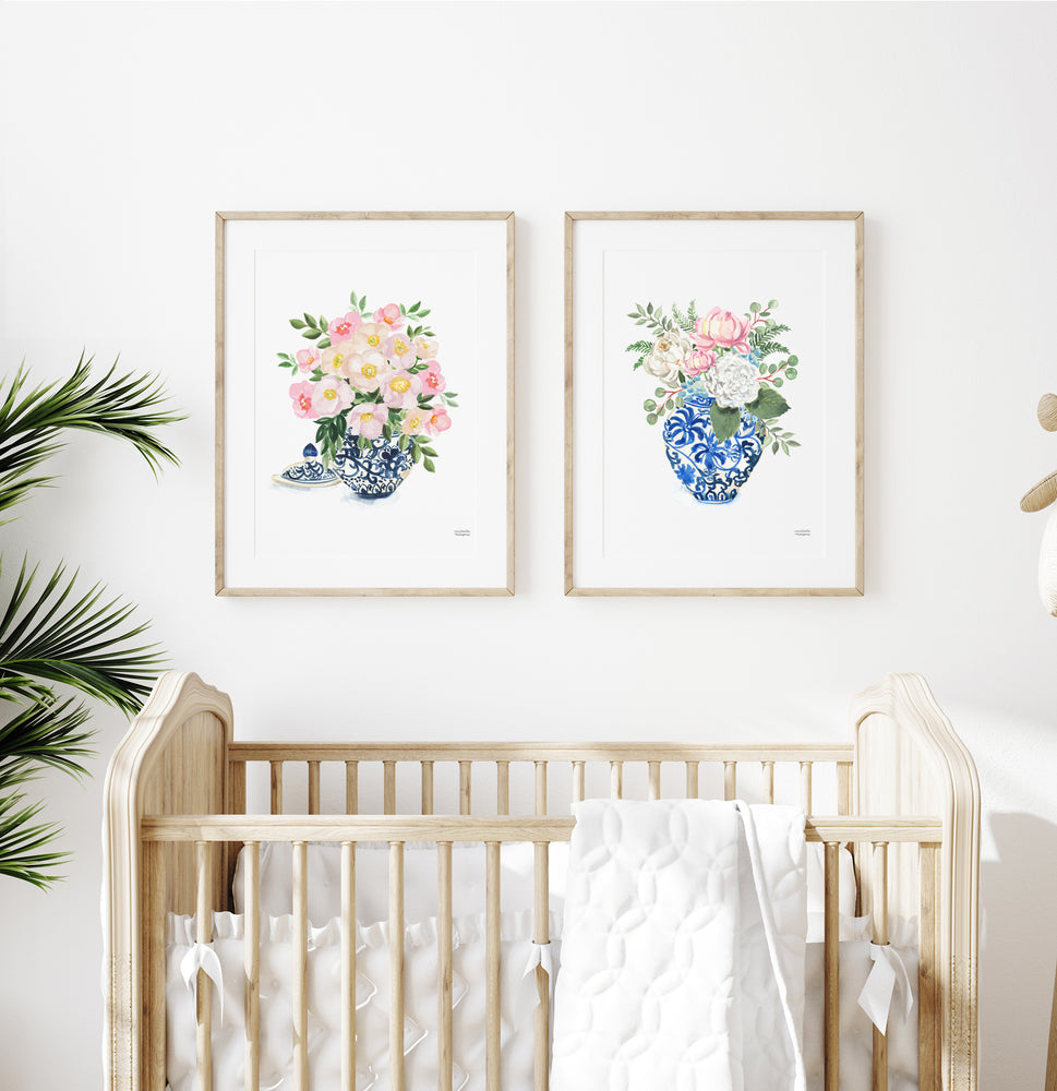 Watercolor Ginger Jar Bouquets Set of 2 Prints
