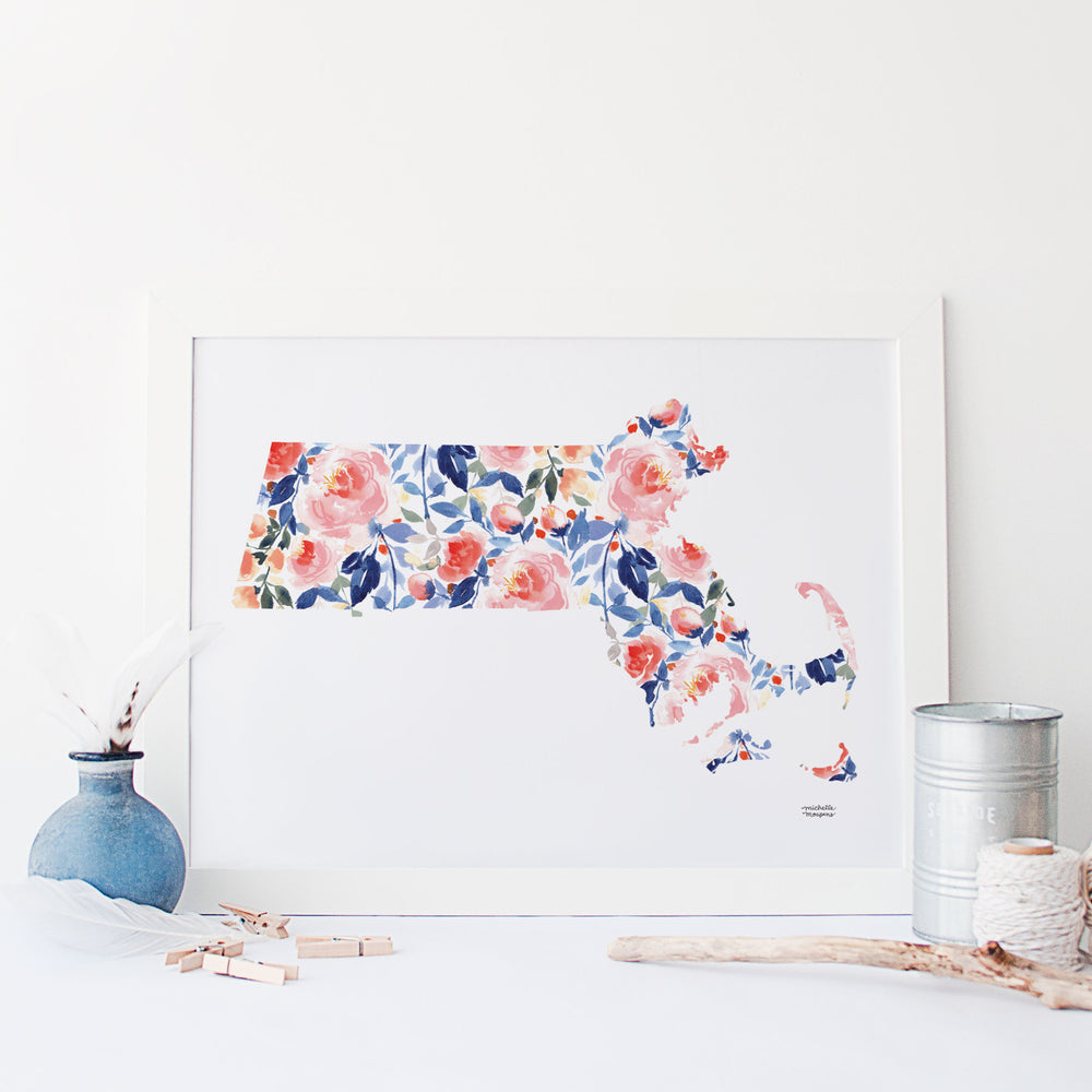 State Of Massachusetts Watercolor Art Print