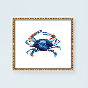 Load image into Gallery viewer, Watercolor blue crab painting wall art print by artist Michelle Mospens.