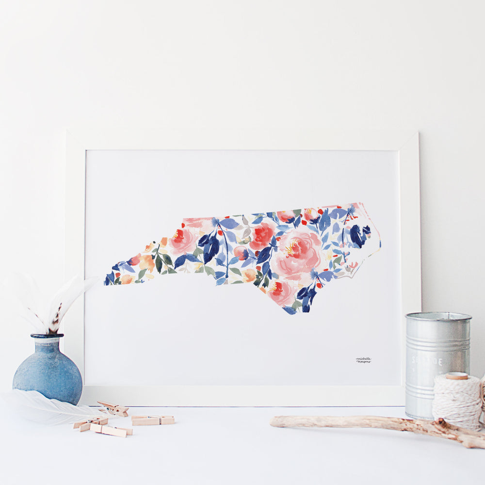 State Of North Carolina Watercolor Print